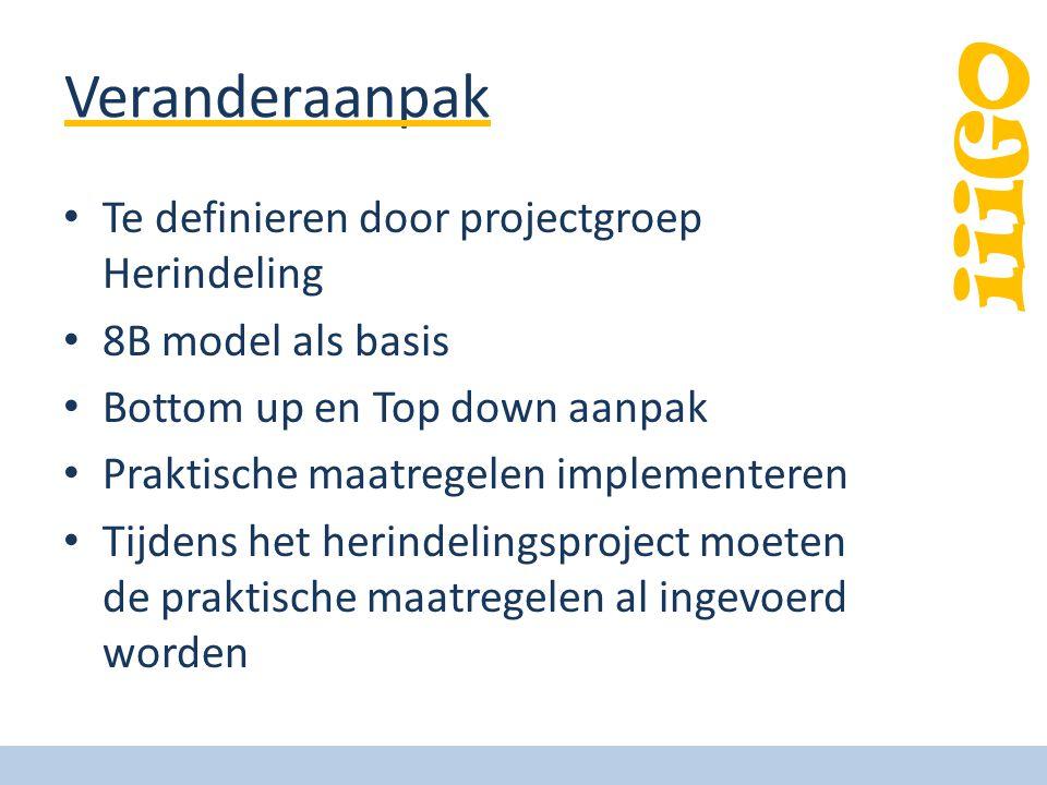 iiiGO Veranderaanpak • Te definieren door projectgroep Herindeling • 8B model als basis • Bottom up en Top down aanpak • Praktische maatregelen implementeren • Tijdens het herindelingsproject moeten de praktische maatregelen al ingevoerd worden