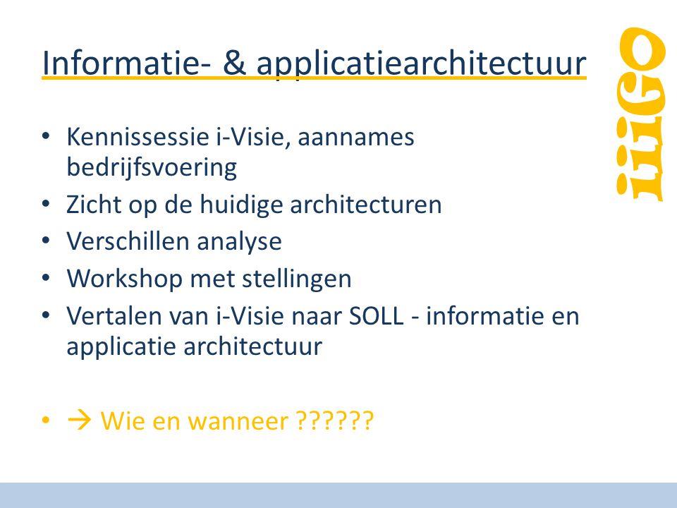 iiiGO Informatie- & applicatiearchitectuur • Kennissessie i-Visie, aannames bedrijfsvoering • Zicht op de huidige architecturen • Verschillen analyse