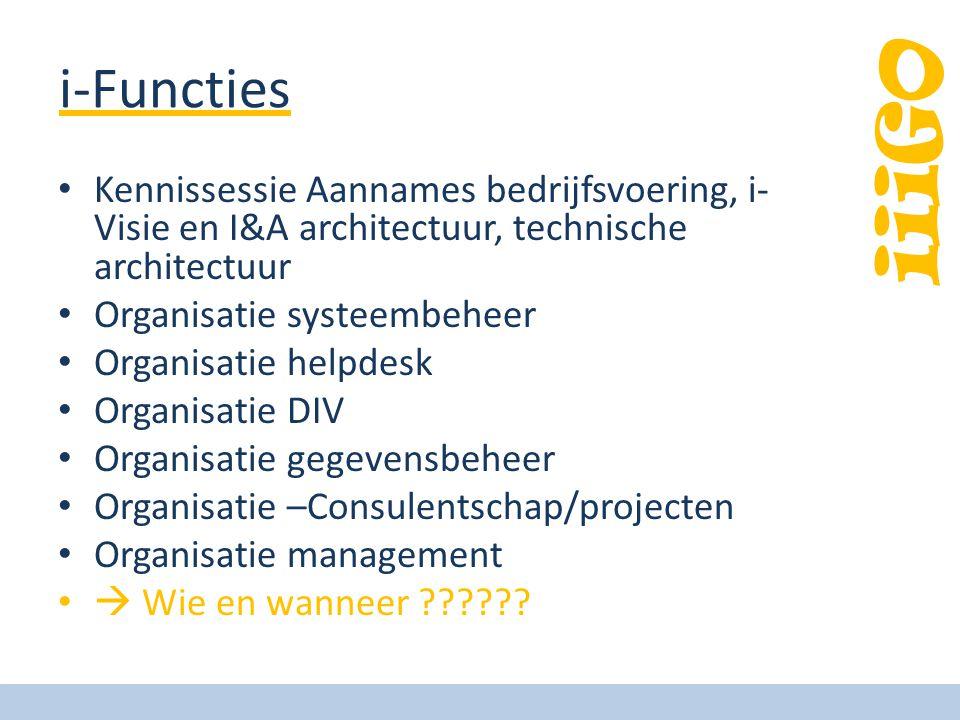 iiiGO i-Functies • Kennissessie Aannames bedrijfsvoering, i- Visie en I&A architectuur, technische architectuur • Organisatie systeembeheer • Organisatie helpdesk • Organisatie DIV • Organisatie gegevensbeheer • Organisatie –Consulentschap/projecten • Organisatie management •  Wie en wanneer ??????