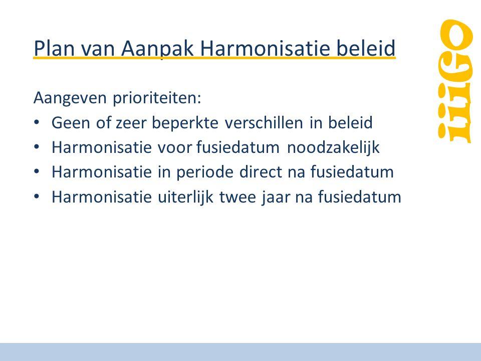 Plan van Aanpak Harmonisatie beleid Aangeven prioriteiten: • Geen of zeer beperkte verschillen in beleid • Harmonisatie voor fusiedatum noodzakelijk • Harmonisatie in periode direct na fusiedatum • Harmonisatie uiterlijk twee jaar na fusiedatum