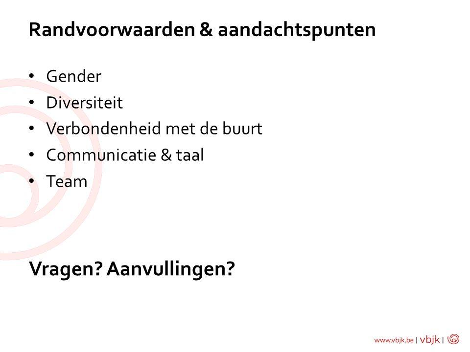 • Gender • Diversiteit • Verbondenheid met de buurt • Communicatie & taal • Team Randvoorwaarden & aandachtspunten Vragen? Aanvullingen?