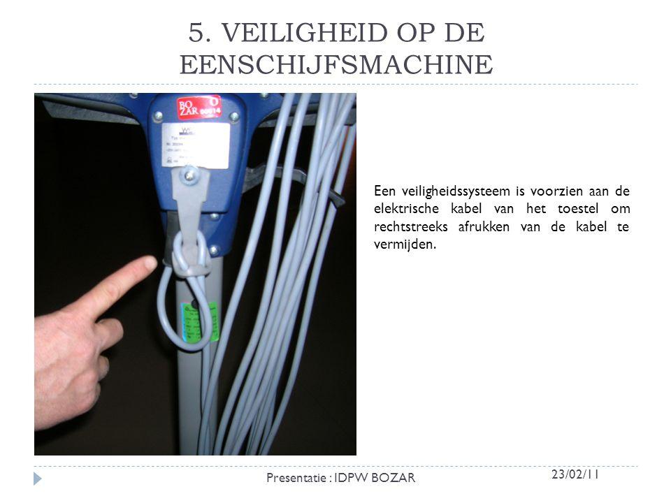 5. VEILIGHEID OP DE EENSCHIJFSMACHINE Een veiligheidssysteem is voorzien aan de elektrische kabel van het toestel om rechtstreeks afrukken van de kabe