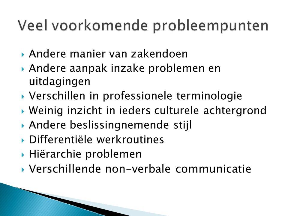  Andere manier van zakendoen  Andere aanpak inzake problemen en uitdagingen  Verschillen in professionele terminologie  Weinig inzicht in ieders c