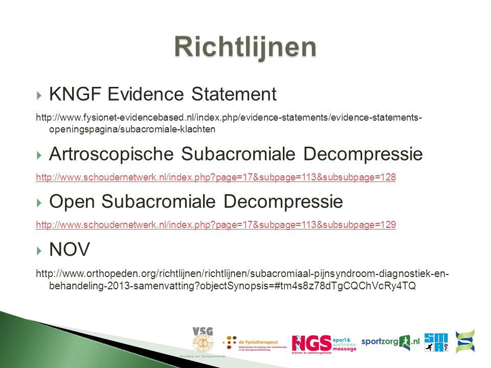  KNGF Evidence Statement http://www.fysionet-evidencebased.nl/index.php/evidence-statements/evidence-statements- openingspagina/subacromiale-klachten