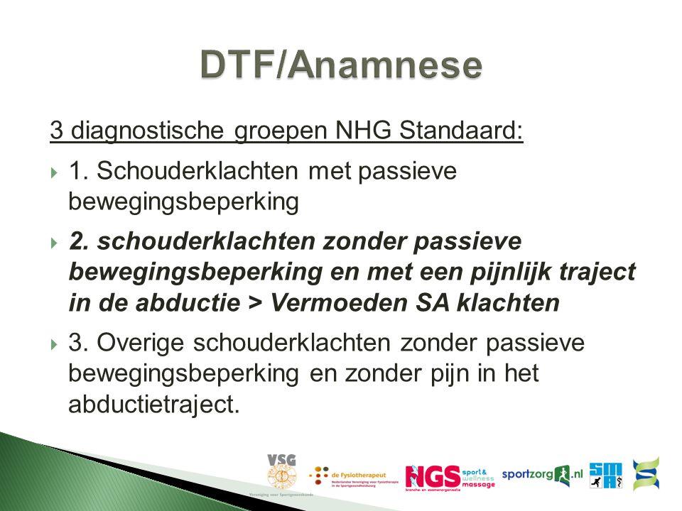 3 diagnostische groepen NHG Standaard:  1. Schouderklachten met passieve bewegingsbeperking  2. schouderklachten zonder passieve bewegingsbeperking