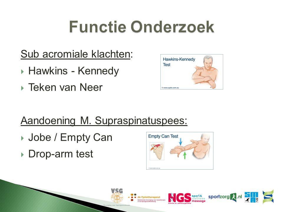 Sub acromiale klachten:  Hawkins - Kennedy  Teken van Neer Aandoening M. Supraspinatuspees:  Jobe / Empty Can  Drop-arm test