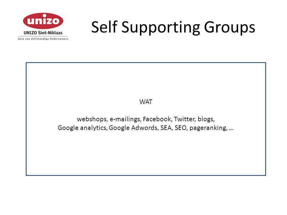 Self Supporting Groups WIE voor en door ondernemers brengen onderwerpen aan ervaringsuitwisselingen via workshops met je eigen laptop gastsprekers afhankelijk van het onderwerp