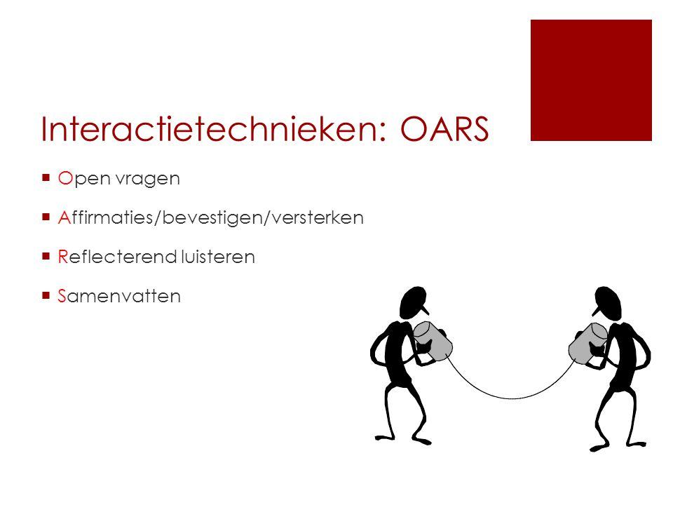 Interactietechnieken: OARS  Open vragen  Affirmaties/bevestigen/versterken  Reflecterend luisteren  Samenvatten