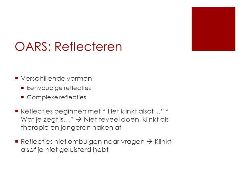 """OARS: Reflecteren  Verschillende vormen  Eenvoudige reflecties  Complexe reflecties  Reflecties beginnen met """" Het klinkt alsof…"""" """" Wat je zegt is"""