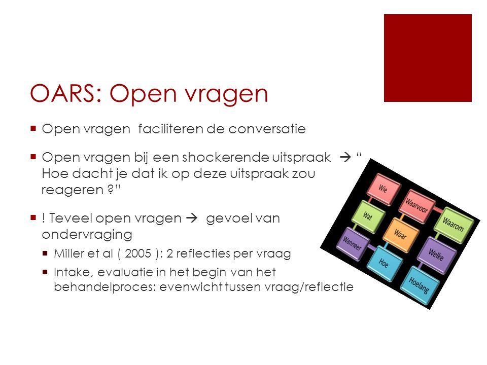 """OARS: Open vragen  Open vragen faciliteren de conversatie  Open vragen bij een shockerende uitspraak  """" Hoe dacht je dat ik op deze uitspraak zou r"""