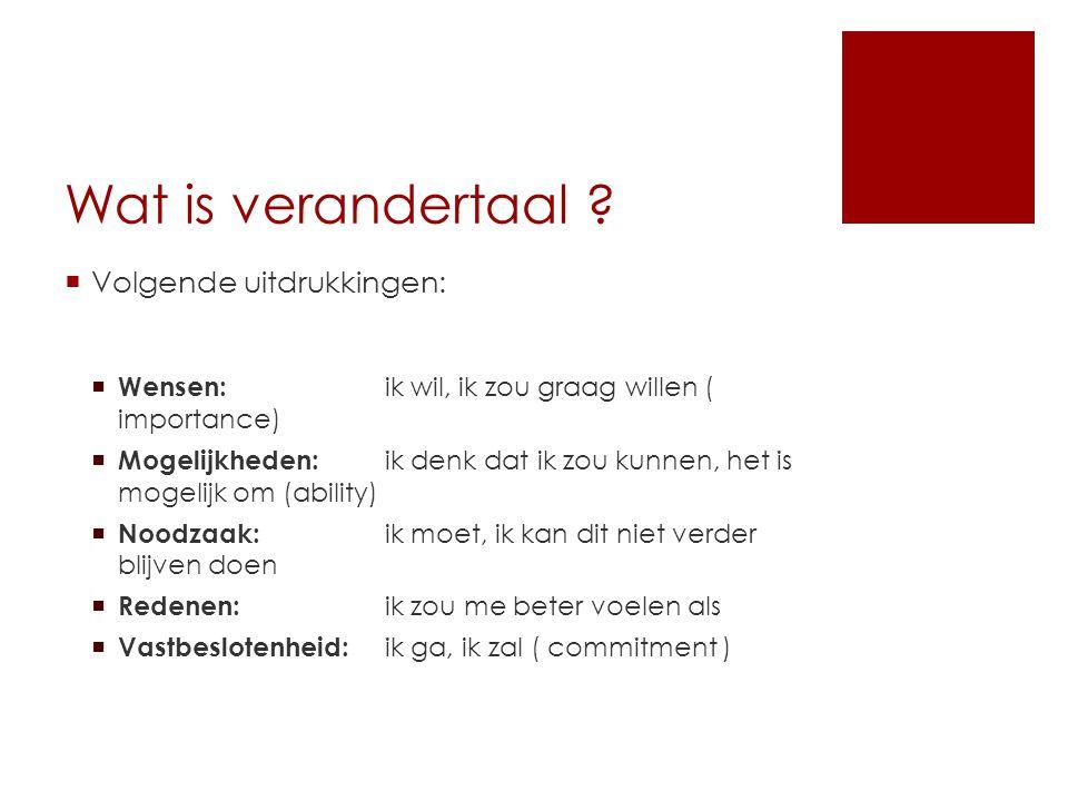 Wat is verandertaal ?  Volgende uitdrukkingen:  Wensen: ik wil, ik zou graag willen ( importance)  Mogelijkheden: ik denk dat ik zou kunnen, het is