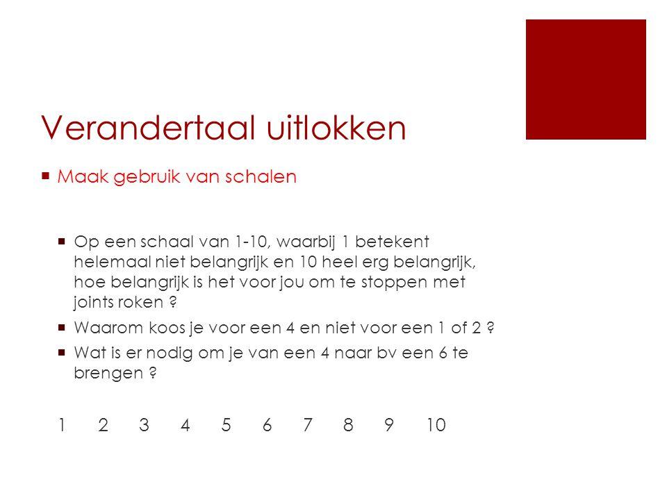 Verandertaal uitlokken  Maak gebruik van schalen  Op een schaal van 1-10, waarbij 1 betekent helemaal niet belangrijk en 10 heel erg belangrijk, hoe