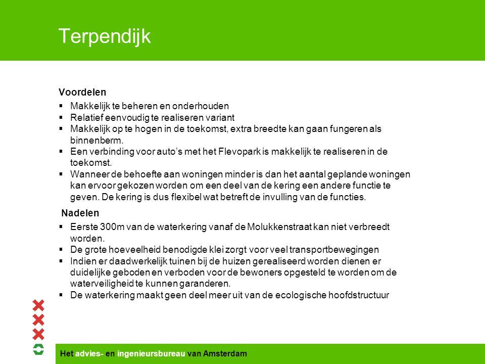 Het advies- en ingenieursbureau van Amsterdam Terpendijk Voordelen  Makkelijk te beheren en onderhouden  Relatief eenvoudig te realiseren variant 