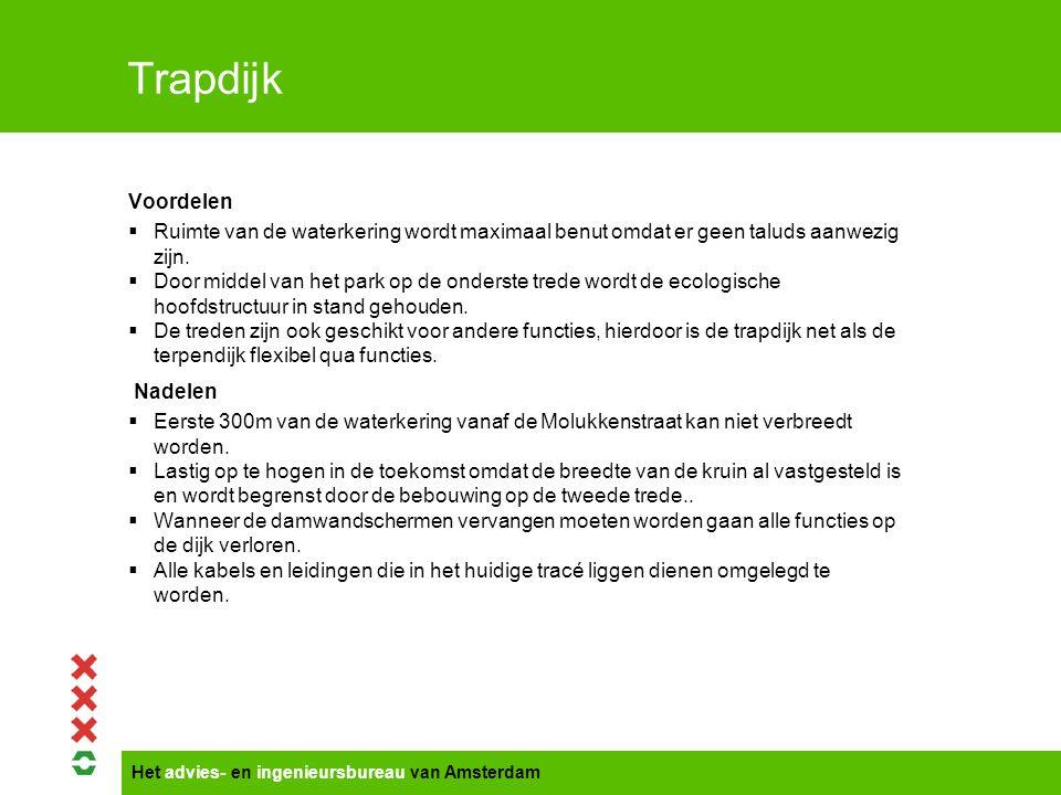 Het advies- en ingenieursbureau van Amsterdam Trapdijk Voordelen  Ruimte van de waterkering wordt maximaal benut omdat er geen taluds aanwezig zijn.