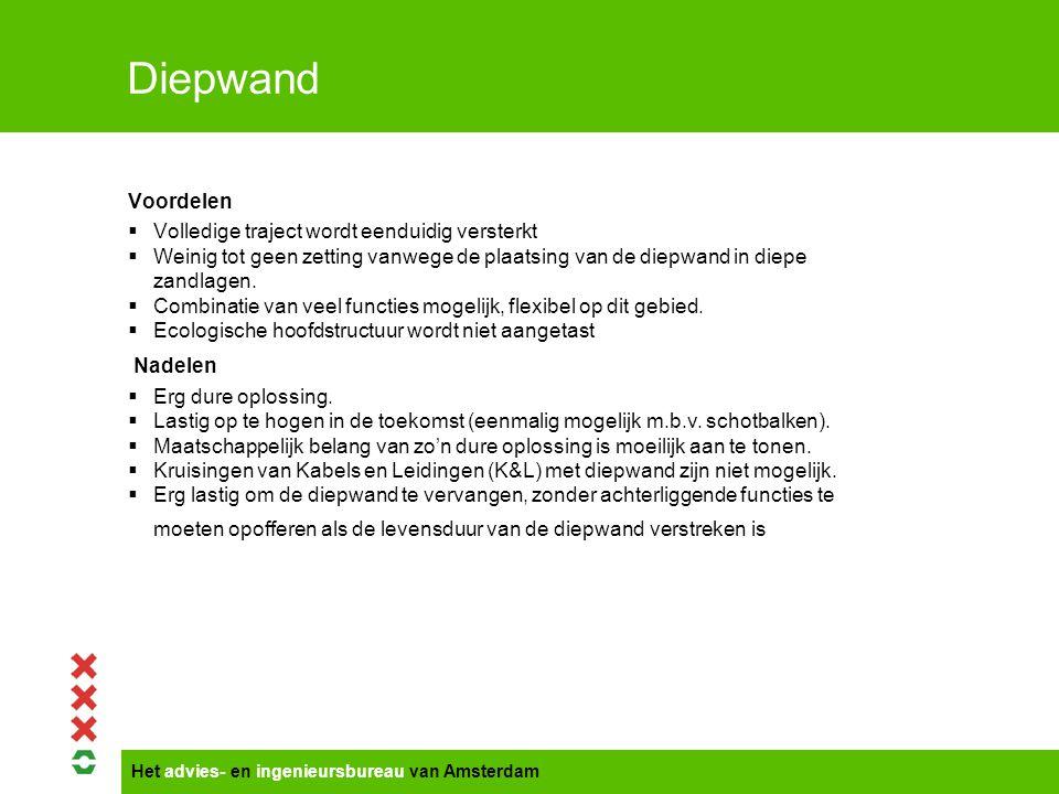 Het advies- en ingenieursbureau van Amsterdam Diepwand Voordelen  Volledige traject wordt eenduidig versterkt  Weinig tot geen zetting vanwege de pl