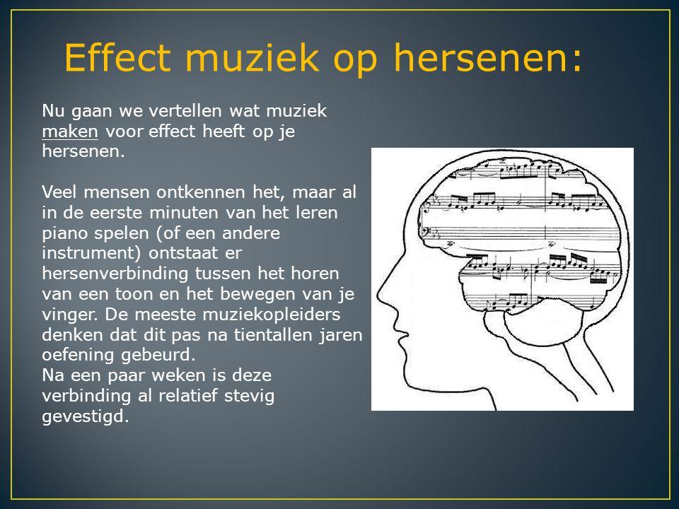 Effect muziek op hersenen: Nu gaan we vertellen wat muziek maken voor effect heeft op je hersenen. Veel mensen ontkennen het, maar al in de eerste min