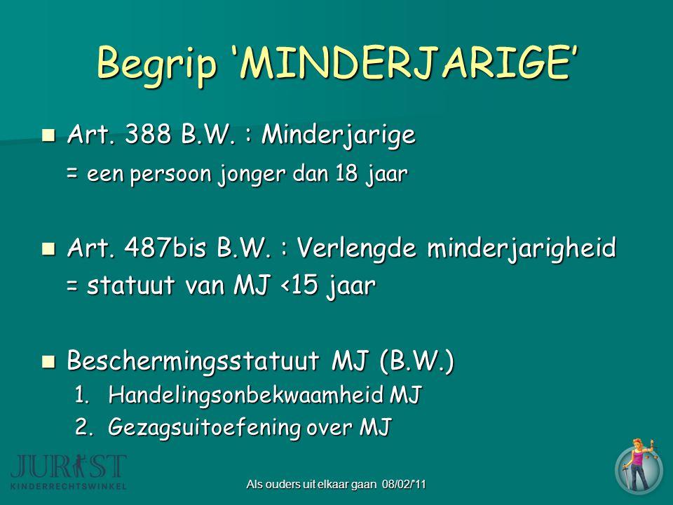 Als ouders uit elkaar gaan 08/02/ 11 Begrip 'MINDERJARIGE'  Art.