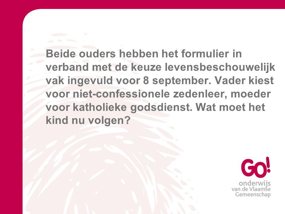Beide ouders hebben het formulier in verband met de keuze levensbeschouwelijk vak ingevuld voor 8 september.