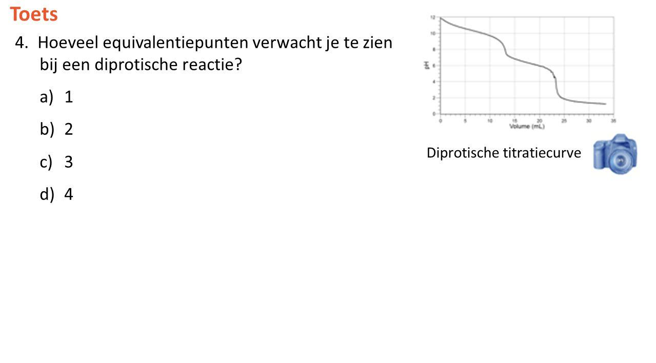 Toets 4. Hoeveel equivalentiepunten verwacht je te zien bij een diprotische reactie? a)1 b)2 c)3 d)4 Diprotische titratiecurve