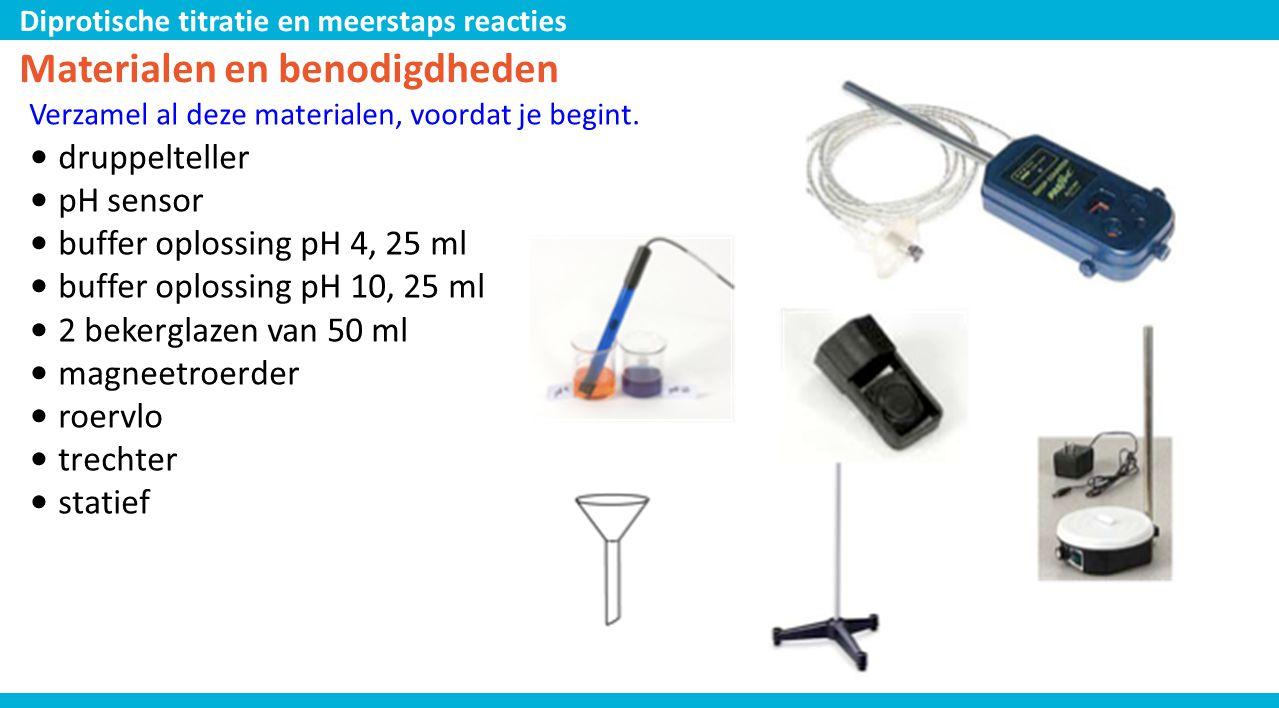 Diprotische titratie en meerstaps reacties Materialen en benodigdheden Verzamel al deze materialen, voordat je begint. • druppelteller • pH sensor • b
