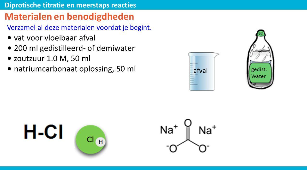 Diprotische titratie en meerstaps reacties Materialen en benodigdheden Verzamel al deze materialen voordat je begint. • vat voor vloeibaar afval • 200