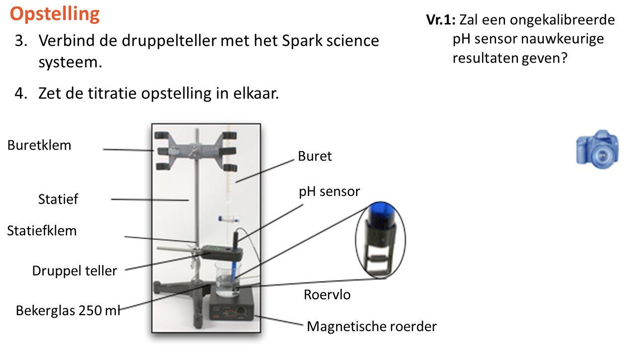 Vr.1: Zal een ongekalibreerde pH sensor nauwkeurige resultaten geven? Opstelling 3.Verbind de druppelteller met het Spark science systeem. 4.Zet de ti