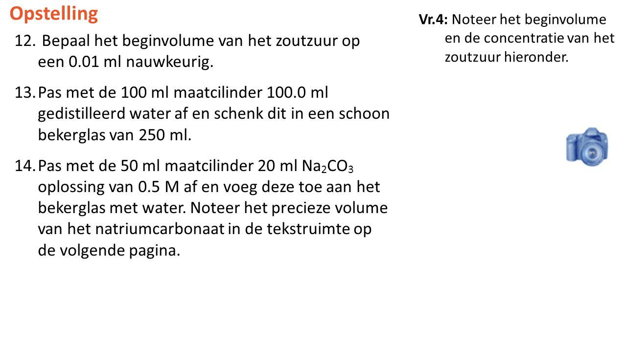 Opstelling 12. Bepaal het beginvolume van het zoutzuur op een 0.01 ml nauwkeurig. 13.Pas met de 100 ml maatcilinder 100.0 ml gedistilleerd water af en