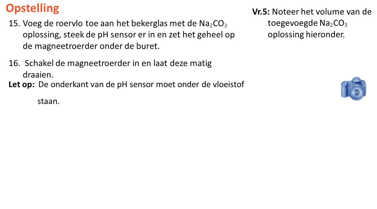 Vr.5: Noteer het volume van de toegevoegde Na 2 CO 3 oplossing hieronder. Opstelling 15.Voeg de roervlo toe aan het bekerglas met de Na 2 CO 3 oplossi