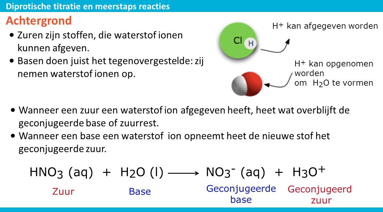 Diprotische titratie en meerstaps reacties Achtergrond • Zuren zijn stoffen, die waterstof ionen kunnen afgeven. • Basen doen juist het tegenovergeste