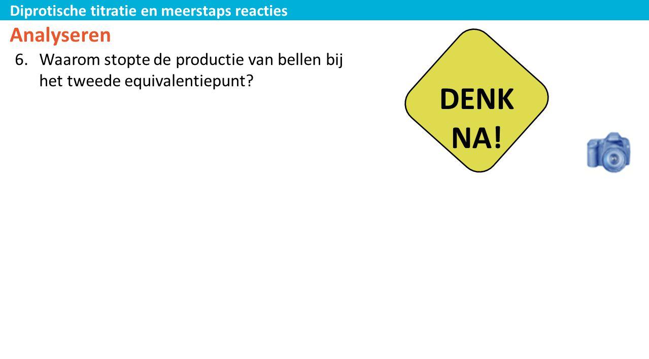 Diprotische titratie en meerstaps reacties Analyseren 6.Waarom stopte de productie van bellen bij het tweede equivalentiepunt? DENK NA!
