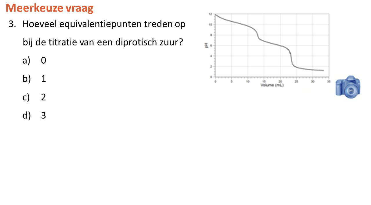 Meerkeuze vraag 3.Hoeveel equivalentiepunten treden op bij de titratie van een diprotisch zuur? a) 0 b) 1 c) 2 d) 3