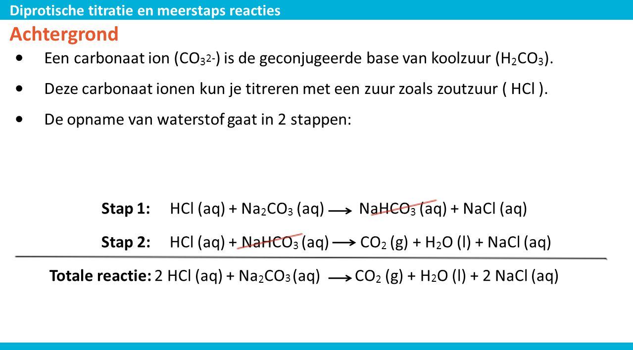 Diprotische titratie en meerstaps reacties Achtergrond • Een carbonaat ion (CO 3 2- ) is de geconjugeerde base van koolzuur (H 2 CO 3 ). • Deze carbon