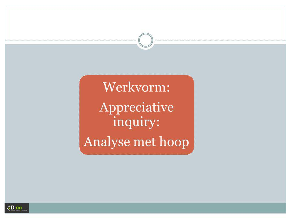 Werkvorm: Appreciative inquiry: Analyse met hoop
