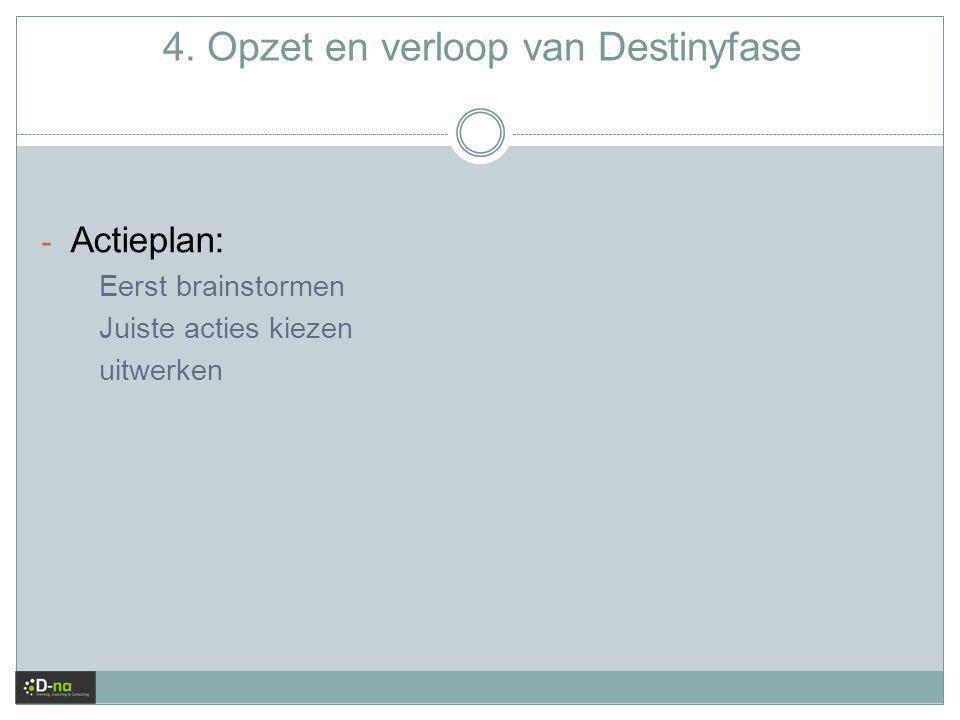 4. Opzet en verloop van Destinyfase - Actieplan: Eerst brainstormen Juiste acties kiezen uitwerken
