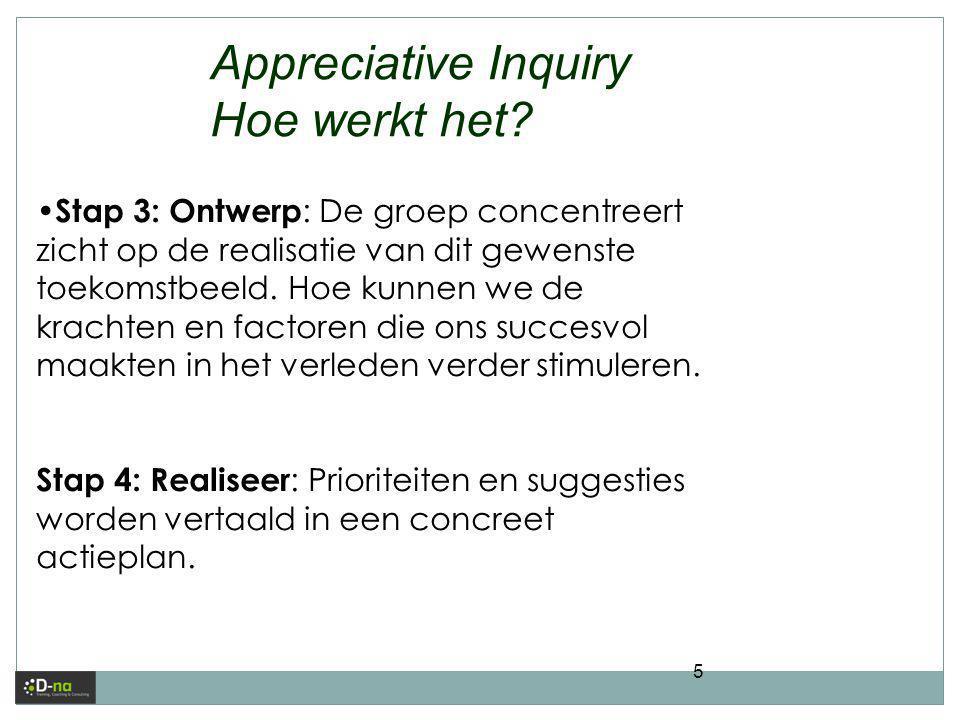 5 Appreciative Inquiry Hoe werkt het? • Stap 3: Ontwerp : De groep concentreert zicht op de realisatie van dit gewenste toekomstbeeld. Hoe kunnen we d