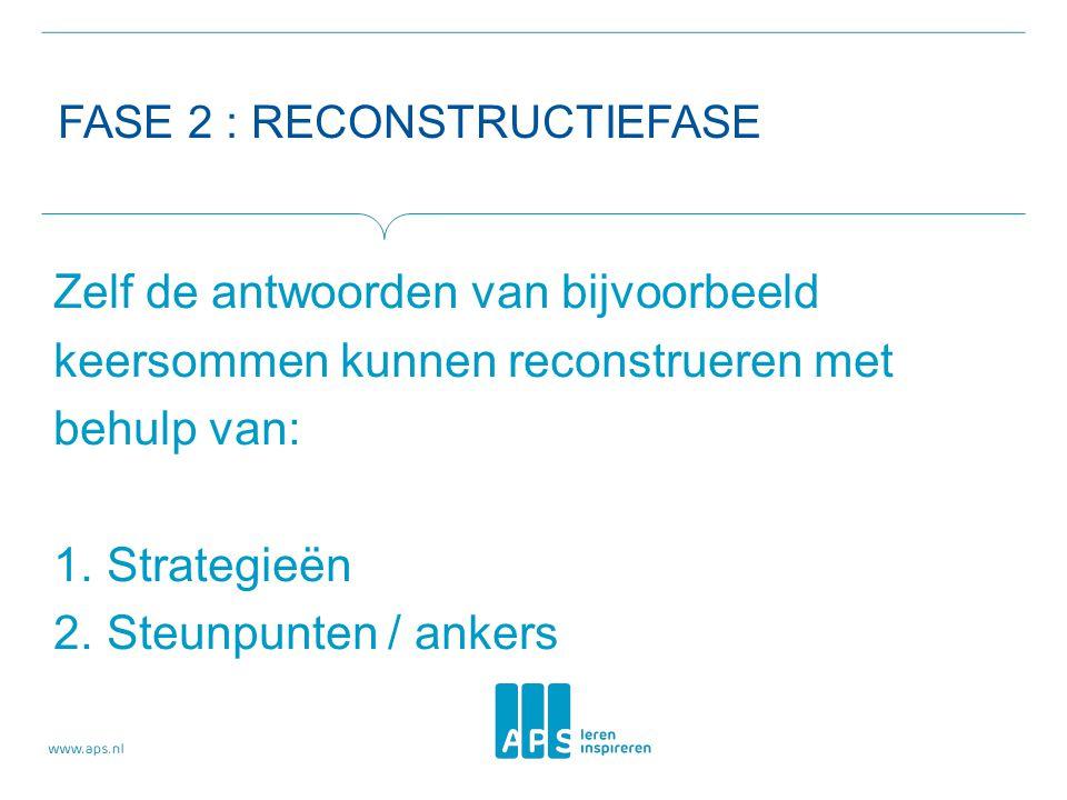 FASE 2 : RECONSTRUCTIEFASE Zelf de antwoorden van bijvoorbeeld keersommen kunnen reconstrueren met behulp van: 1.Strategieën 2.Steunpunten / ankers