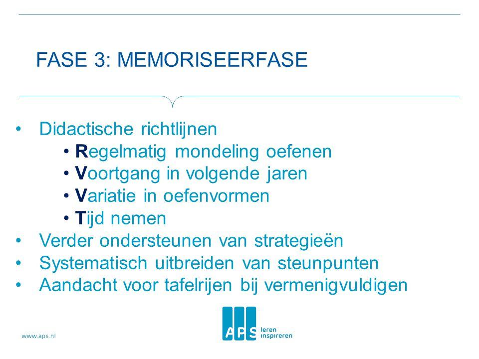 FASE 3: MEMORISEERFASE •Didactische richtlijnen •Regelmatig mondeling oefenen •Voortgang in volgende jaren •Variatie in oefenvormen •Tijd nemen •Verde
