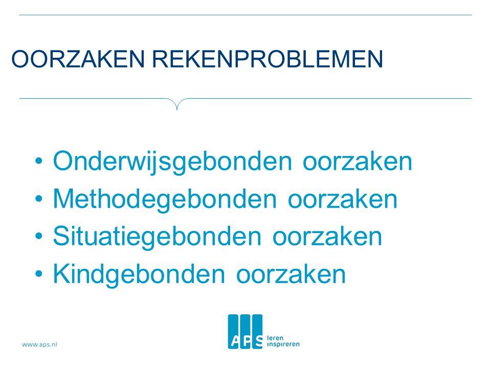 OORZAKEN REKENPROBLEMEN •Onderwijsgebonden oorzaken •Methodegebonden oorzaken •Situatiegebonden oorzaken •Kindgebonden oorzaken
