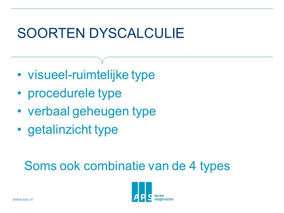 SOORTEN DYSCALCULIE •visueel-ruimtelijke type •procedurele type •verbaal geheugen type •getalinzicht type Soms ook combinatie van de 4 types
