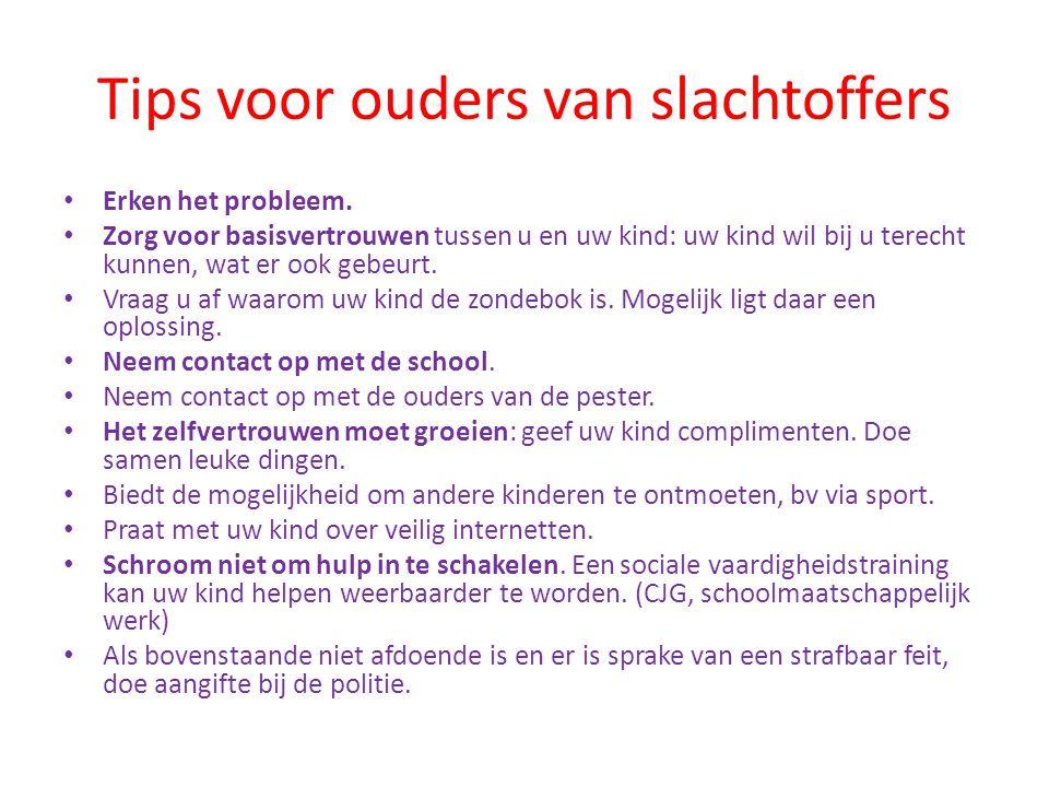 Tips voor ouders van slachtoffers • Erken het probleem.