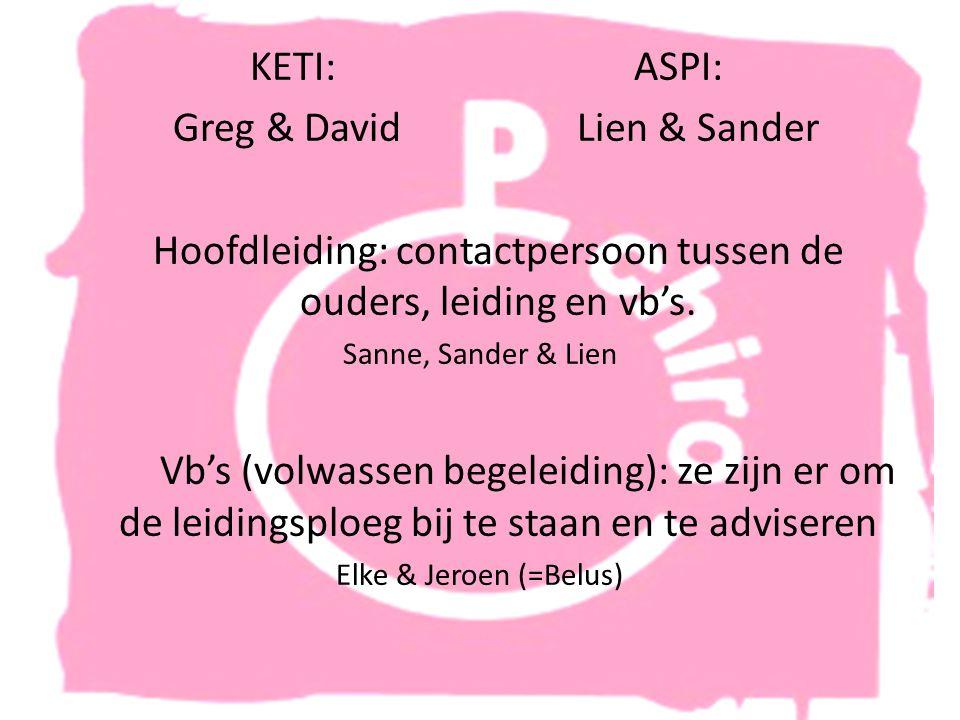 KETI:ASPI: Greg & David Lien & Sander Hoofdleiding: contactpersoon tussen de ouders, leiding en vb's.