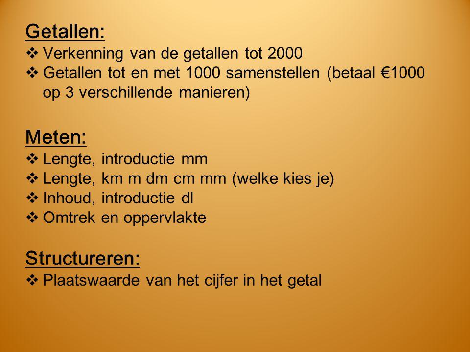 Getallen:  Verkenning van de getallen tot 2000  Getallen tot en met 1000 samenstellen (betaal €1000 op 3 verschillende manieren) Meten:  Lengte, in
