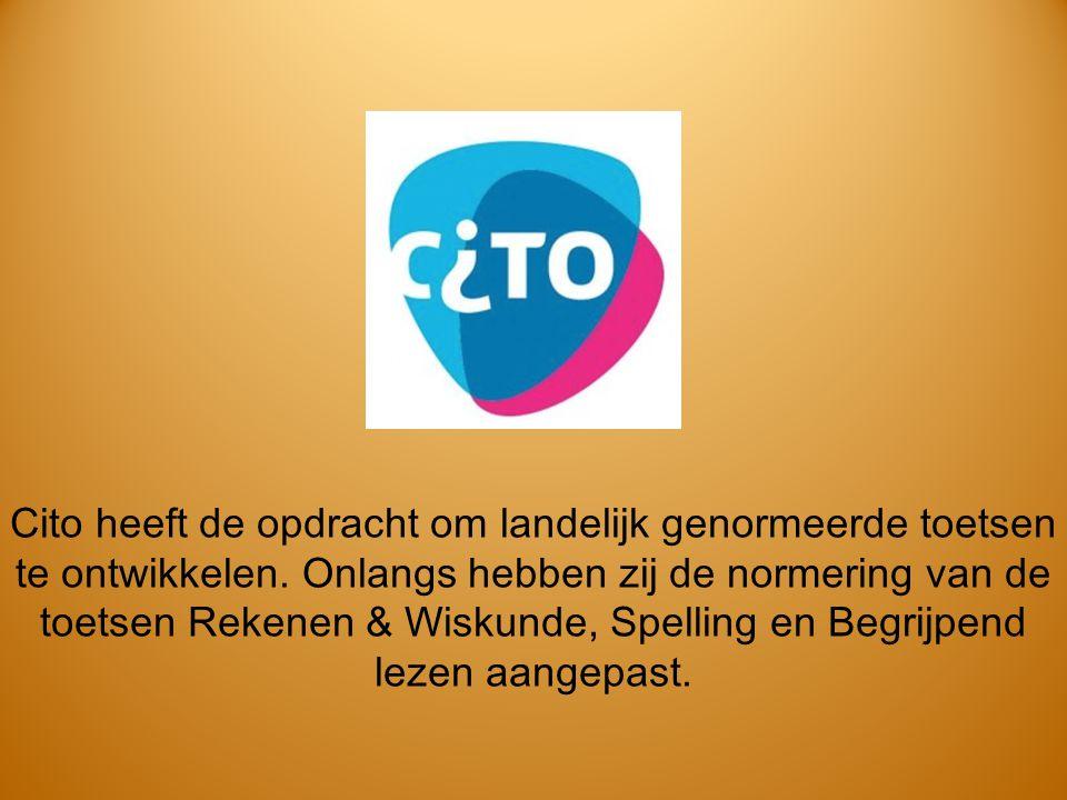 Cito heeft de opdracht om landelijk genormeerde toetsen te ontwikkelen. Onlangs hebben zij de normering van de toetsen Rekenen & Wiskunde, Spelling en