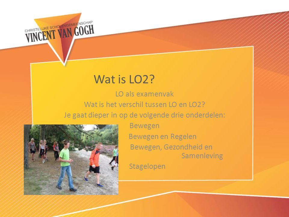 LO als examenvak Wat is het verschil tussen LO en LO2? Je gaat dieper in op de volgende drie onderdelen: Bewegen Bewegen en Regelen Bewegen, Gezondhei