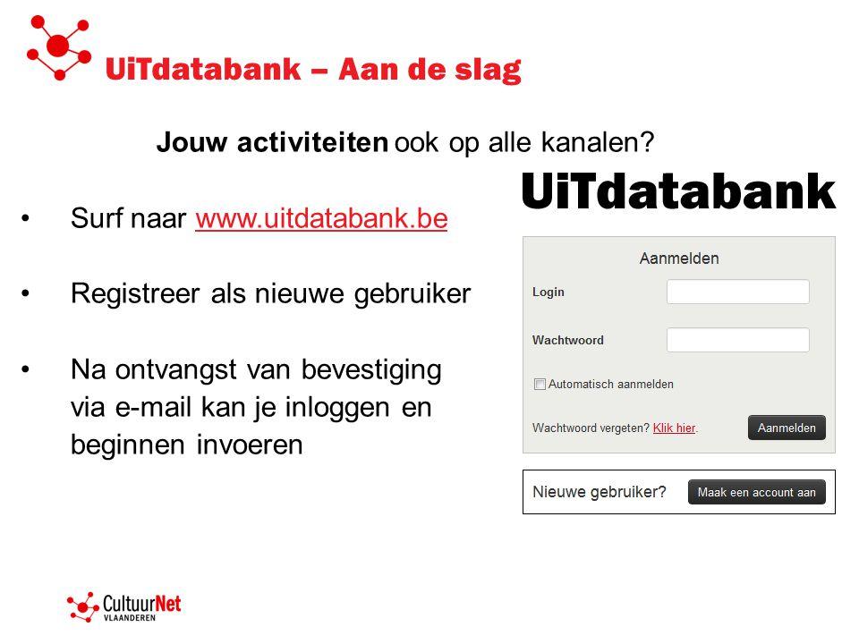 UiTdatabank – Aan de slag Jouw activiteiten ook op alle kanalen? •Surf naar www.uitdatabank.bewww.uitdatabank.be •Registreer als nieuwe gebruiker •Na