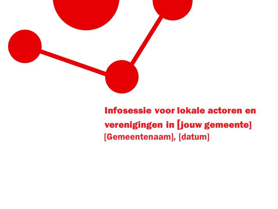 Infosessie voor lokale actoren en verenigingen in [ jouw gemeente] [Gemeentenaam], [datum]