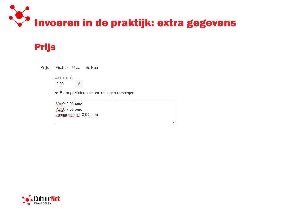 Invoeren in de praktijk: extra gegevens Prijs