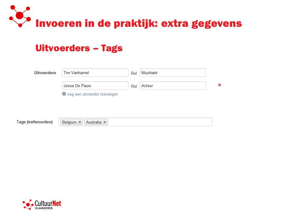 Invoeren in de praktijk: extra gegevens Uitvoerders – Tags