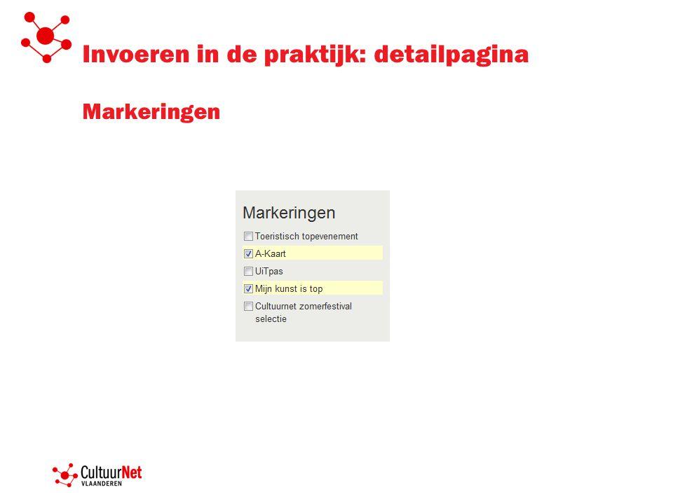 Invoeren in de praktijk: detailpagina Markeringen