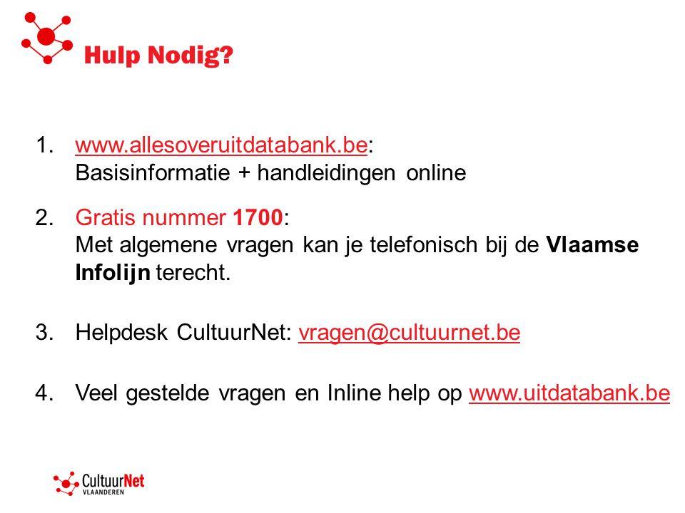 Hulp Nodig? 1.www.allesoveruitdatabank.be: Basisinformatie + handleidingen onlinewww.allesoveruitdatabank.be 2.Gratis nummer 1700: Met algemene vragen